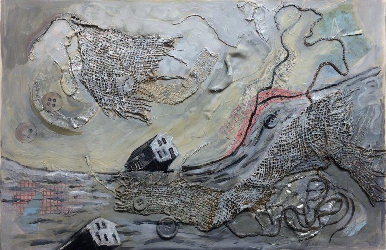 Williamsburg Flood II, 2016.  Acrylic, collage on paper