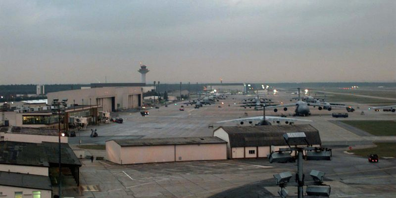Rhein Main AB, Frankfurt, Germany is one of the staging areas for troops and supplies headed to Bosnia-Herzegovina.  The moth-balled base was reactivated to support NATO operations in the area.